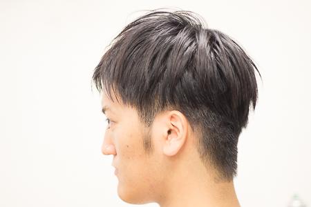 メンズショートヘア 2ブロックスタイル ドライカット サイドアングル