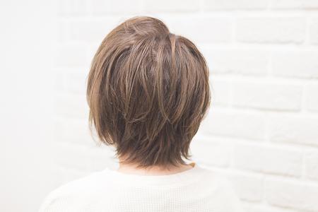 透け感のあるカラーとポイントカットをした女性の後ろ姿